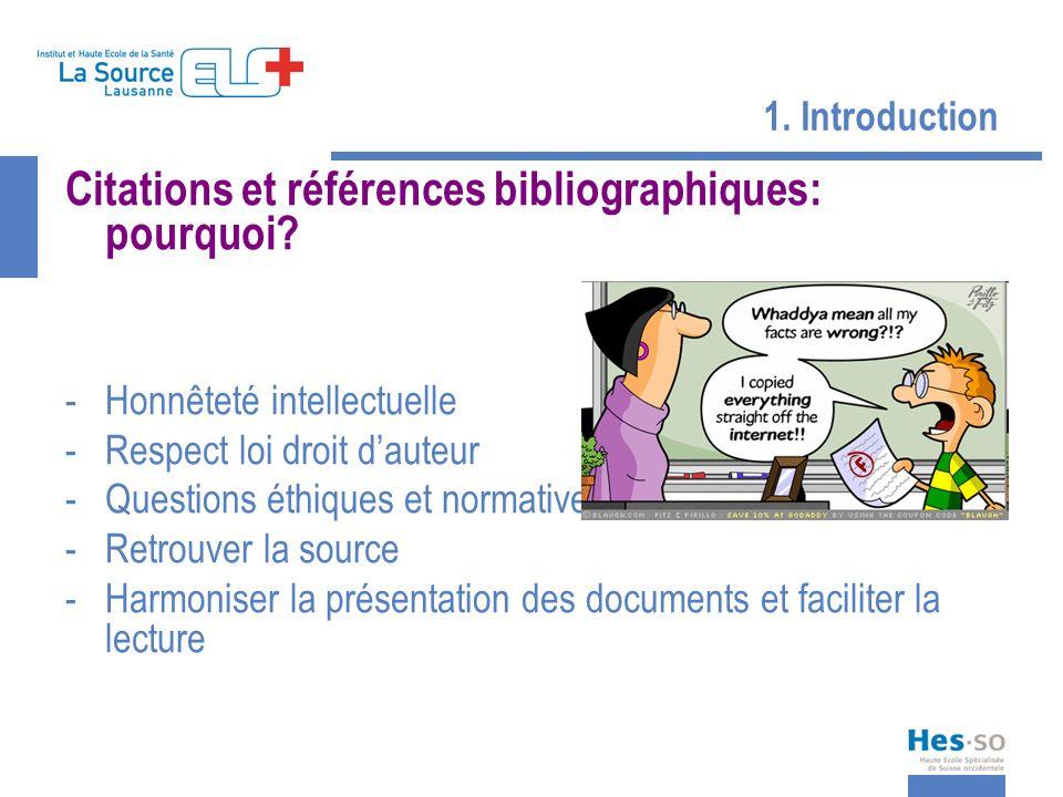 1. Introduction Citations et références bibliographiques: pourquoi? -Honnêteté intellectuelle -Respect loi droit dauteur -Questions éthiques et normat