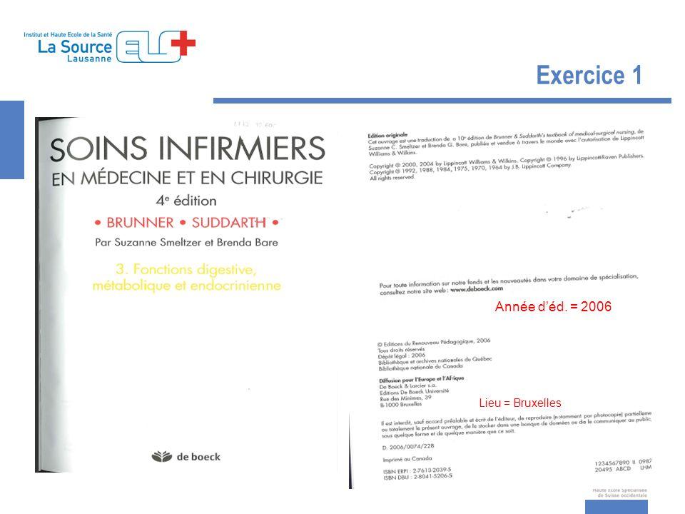 Exercice 1 Année déd. = 2006 Lieu = Bruxelles