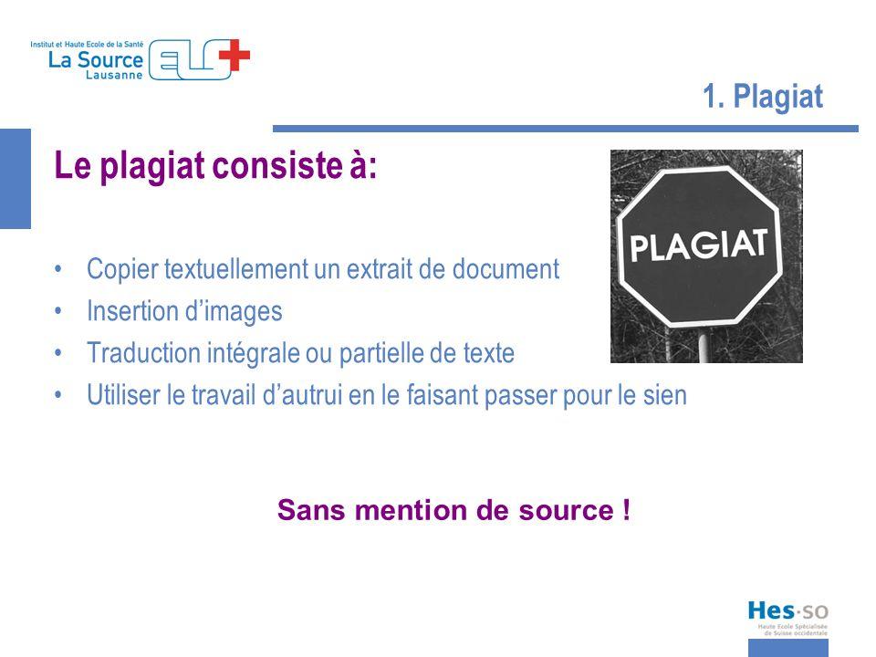 1. Plagiat Le plagiat consiste à: Copier textuellement un extrait de document Insertion dimages Traduction intégrale ou partielle de texte Utiliser le