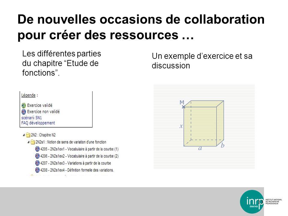 De nouvelles occasions de collaboration pour créer des ressources … 13 Les différentes parties du chapitre Etude de fonctions. Un exemple dexercice et