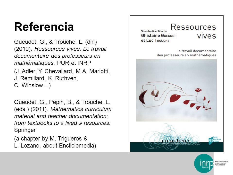 Referencia Gueudet, G., & Trouche, L. (dir.) (2010). Ressources vives. Le travail documentaire des professeurs en mathématiques. PUR et INRP (J. Adler
