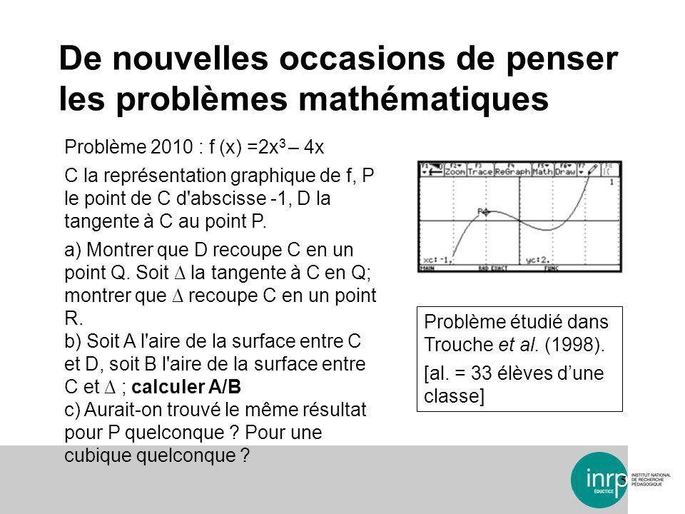De nouvelles occasions de penser les problèmes mathématiques 6 Problème 2010 : f (x) =2x 3 – 4x C la représentation graphique de f, P le point de C d abscisse -1, D la tangente à C au point P.