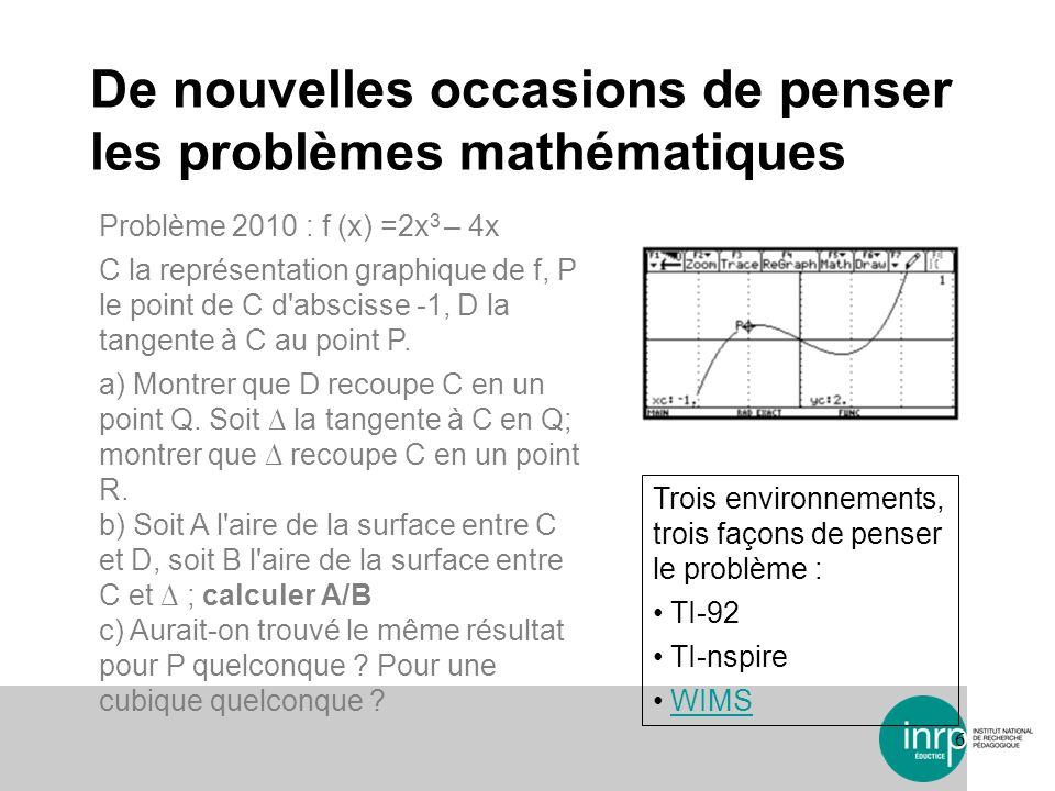 De nouvelles occasions de penser les problèmes mathématiques 6 Problème 2010 : f (x) =2x 3 – 4x C la représentation graphique de f, P le point de C d'
