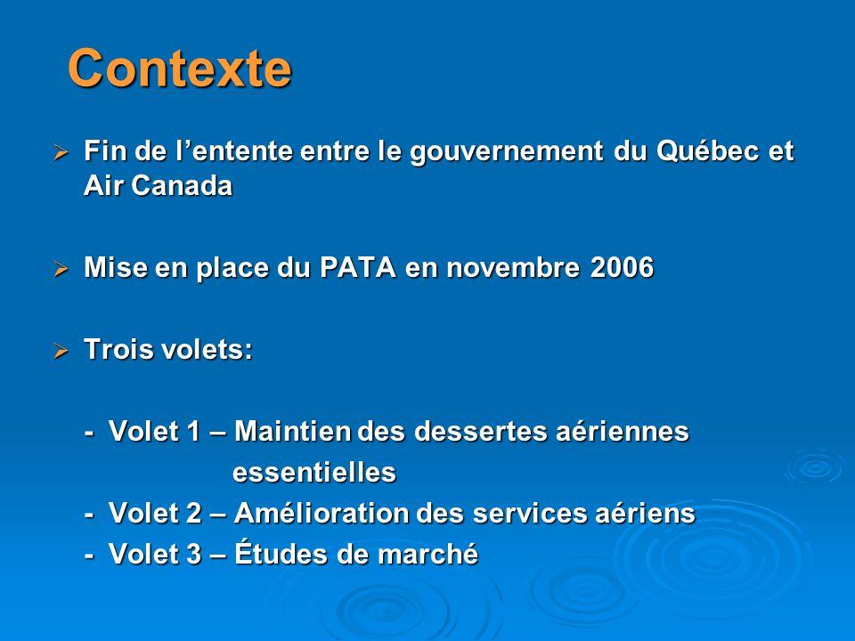 Nouvelles modalités au PATA À la demande du comité de suivi du transport aérien, le Ministère demandait au Conseil du trésor des modifications aux modalités du PATA en septembre 2008, soit : À la demande du comité de suivi du transport aérien, le Ministère demandait au Conseil du trésor des modifications aux modalités du PATA en septembre 2008, soit : -Les dessertes hors-Québec -Un nouveau volet sur les infrastructures aéroportuaires Les nouvelles modalités ont été acceptées par le Conseil du trésor le 31 mars 2009 à lintérieur de la même enveloppe budgétaire Les nouvelles modalités ont été acceptées par le Conseil du trésor le 31 mars 2009 à lintérieur de la même enveloppe budgétaire