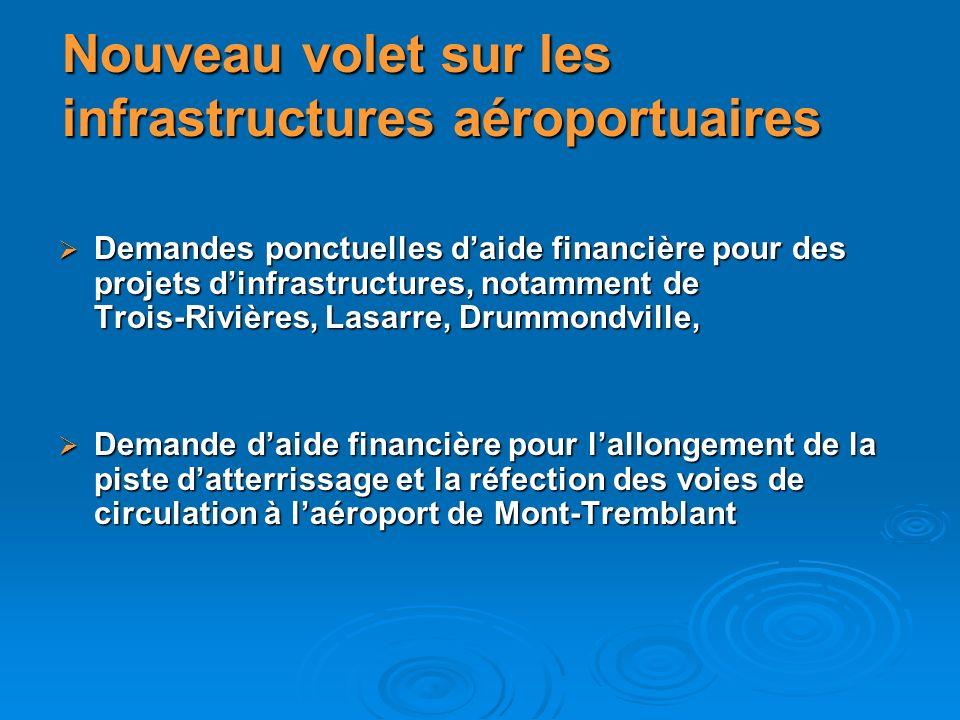 Nouveau volet sur les infrastructures aéroportuaires Demandes ponctuelles daide financière pour des projets dinfrastructures, notamment de Trois-Riviè