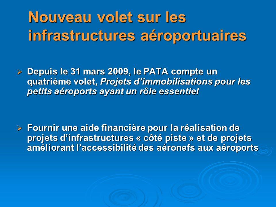 Depuis le 31 mars 2009, le PATA compte un quatrième volet, Projets dimmobilisations pour les petits aéroports ayant un rôle essentiel Depuis le 31 mar