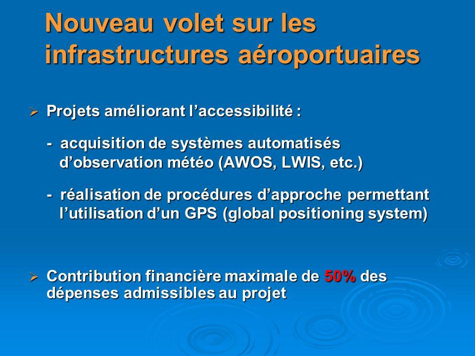 Projets améliorant laccessibilité : Projets améliorant laccessibilité : - acquisition de systèmes automatisés dobservation météo (AWOS, LWIS, etc.) do