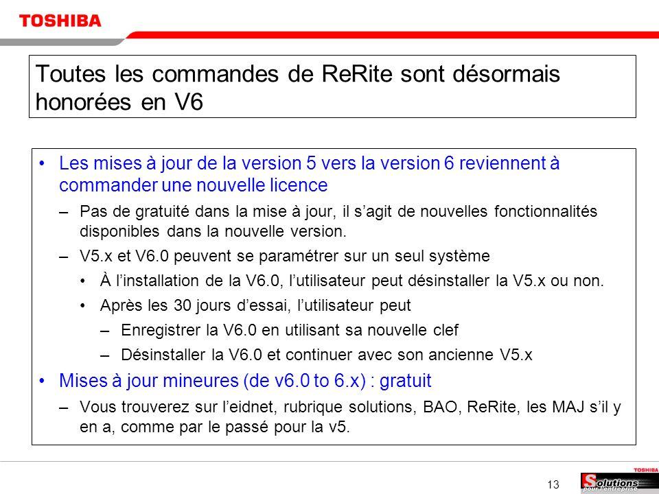 13 Toutes les commandes de ReRite sont désormais honorées en V6 Les mises à jour de la version 5 vers la version 6 reviennent à commander une nouvelle licence –Pas de gratuité dans la mise à jour, il sagit de nouvelles fonctionnalités disponibles dans la nouvelle version.