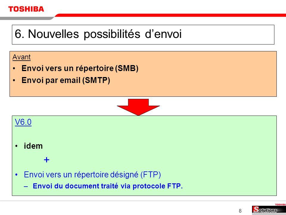 8 6. Nouvelles possibilités denvoi Avant Envoi vers un répertoire (SMB) Envoi par email (SMTP) V6.0 idem + Envoi vers un répertoire désigné (FTP) –Env