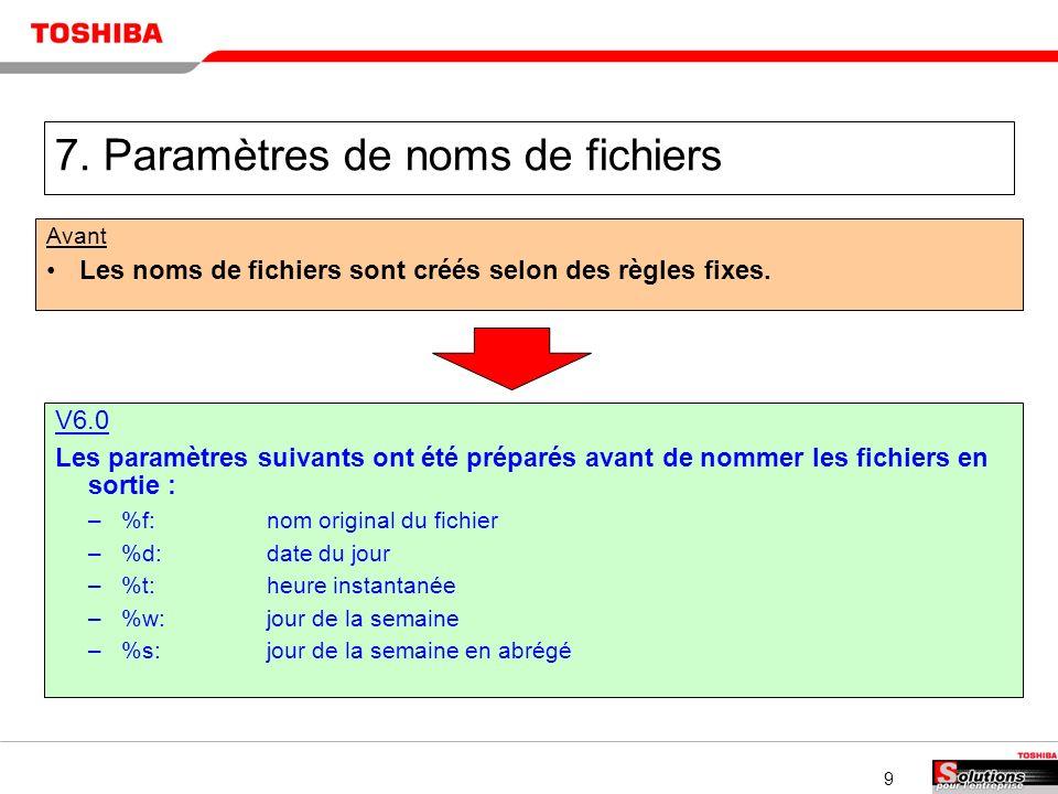 9 7. Paramètres de noms de fichiers Avant Les noms de fichiers sont créés selon des règles fixes.