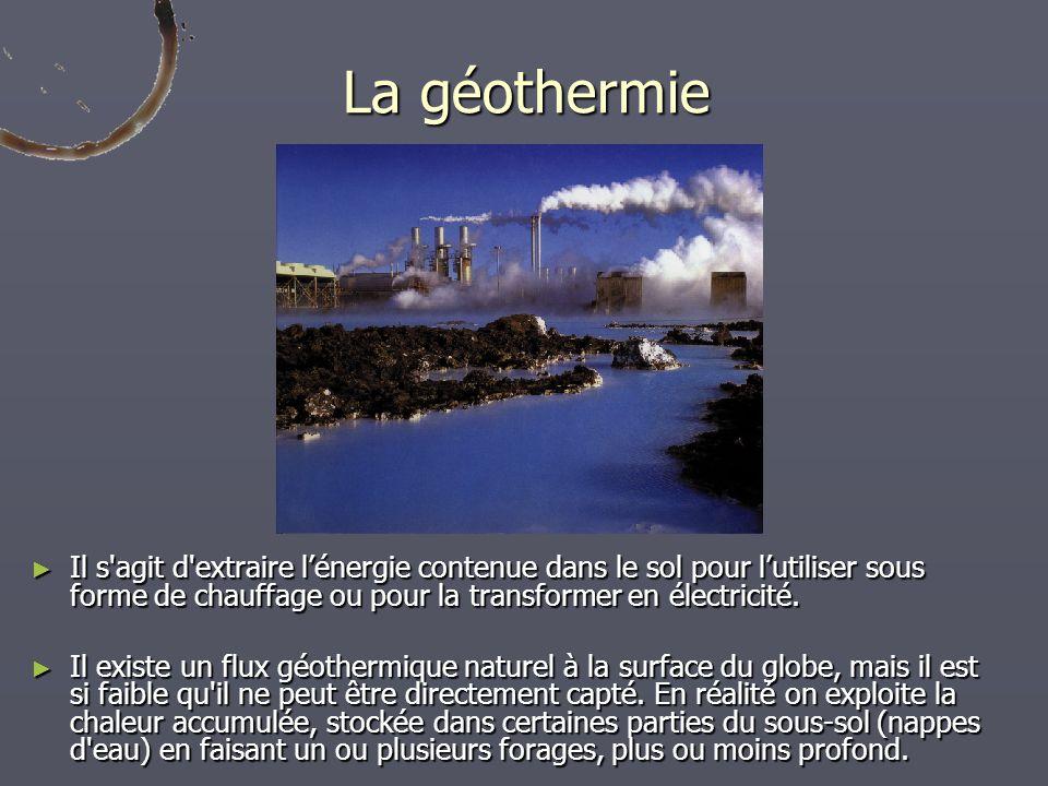 La géothermie Il s'agit d'extraire lénergie contenue dans le sol pour lutiliser sous forme de chauffage ou pour la transformer en électricité. Il s'ag