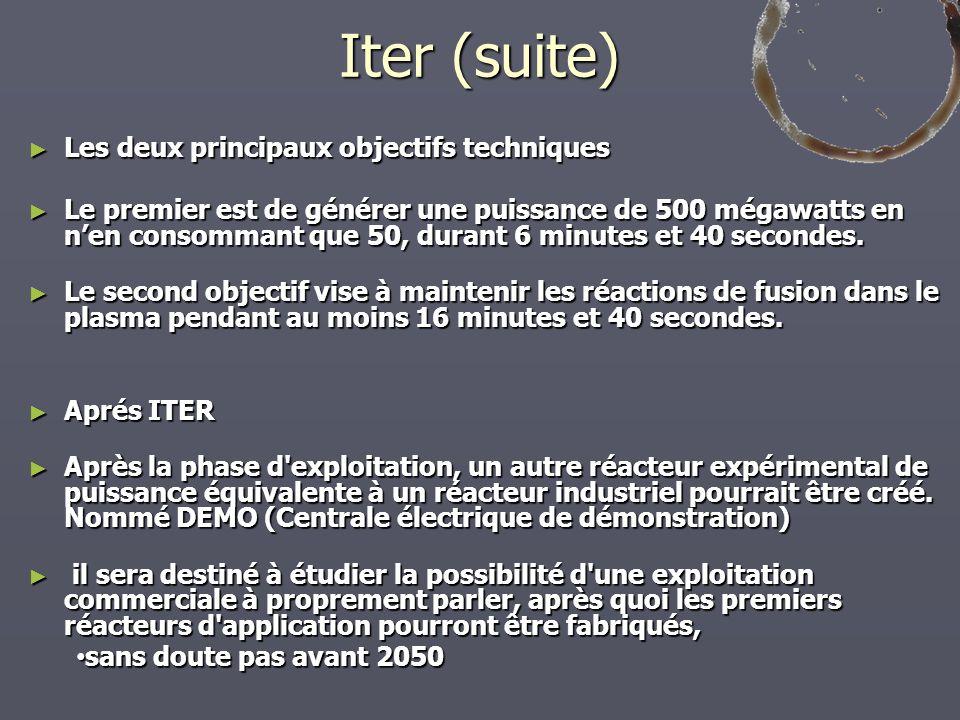 Iter (suite) Les deux principaux objectifs techniques Les deux principaux objectifs techniques Le premier est de générer une puissance de 500 mégawatt