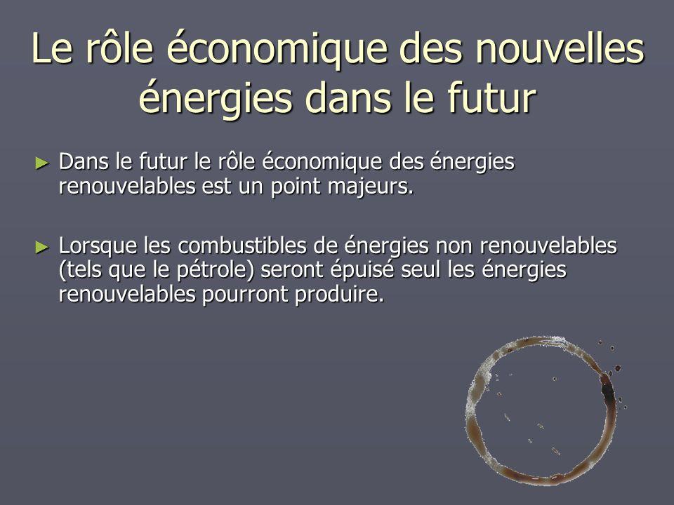 Le rôle économique des nouvelles énergies dans le futur Dans le futur le rôle économique des énergies renouvelables est un point majeurs. Dans le futu