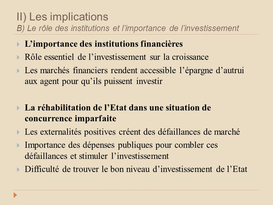 II) Les implications B) Le rôle des institutions et limportance de linvestissement Limportance des institutions financières Rôle essentiel de linvesti
