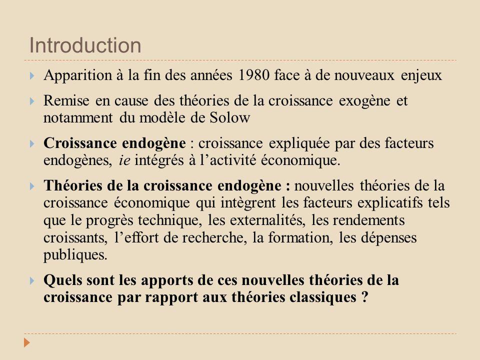 Introduction Apparition à la fin des années 1980 face à de nouveaux enjeux Remise en cause des théories de la croissance exogène et notamment du modèl