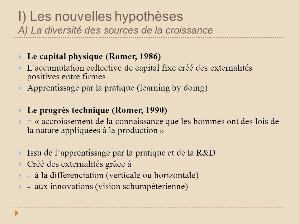 I) Les nouvelles hypothèses A) La diversité des sources de la croissance Le capital physique (Romer, 1986) Laccumulation collective de capital fixe cr