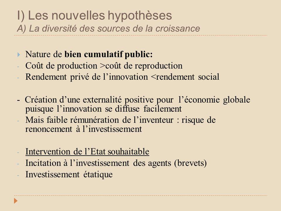 I) Les nouvelles hypothèses A) La diversité des sources de la croissance Nature de bien cumulatif public: - Coût de production >coût de reproduction -