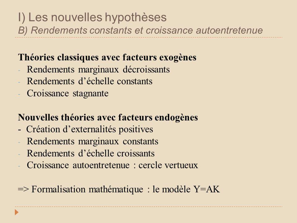 I) Les nouvelles hypothèses B) Rendements constants et croissance autoentretenue Théories classiques avec facteurs exogènes - Rendements marginaux déc