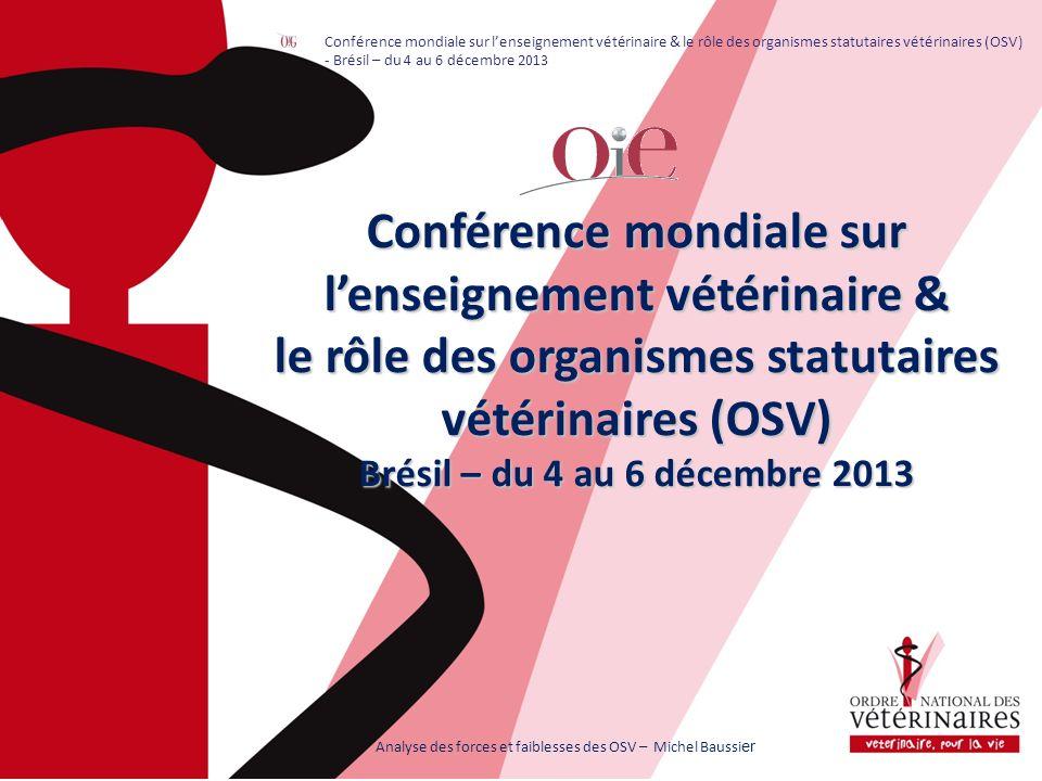 Conférence mondiale sur lenseignement vétérinaire & le rôle des organismes statutaires vétérinaires (OSV) Brésil – du 4 au 6 décembre 2013 Analyse des forces et faiblesses des OSV – Michel Baussi er Conférence mondiale sur lenseignement vétérinaire & le rôle des organismes statutaires vétérinaires (OSV) - Brésil – du 4 au 6 décembre 2013