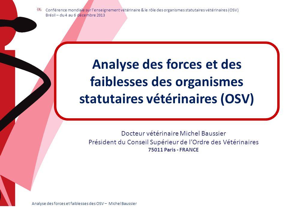 MERCI Obrigado Gratias Thank you Analyse des forces et faiblesses des OSV – Michel Baussier Conférence mondiale sur lenseignement vétérinaire & le rôle des organismes statutaires vétérinaires (OSV) Brésil – du 4 au 6 décembre 2013