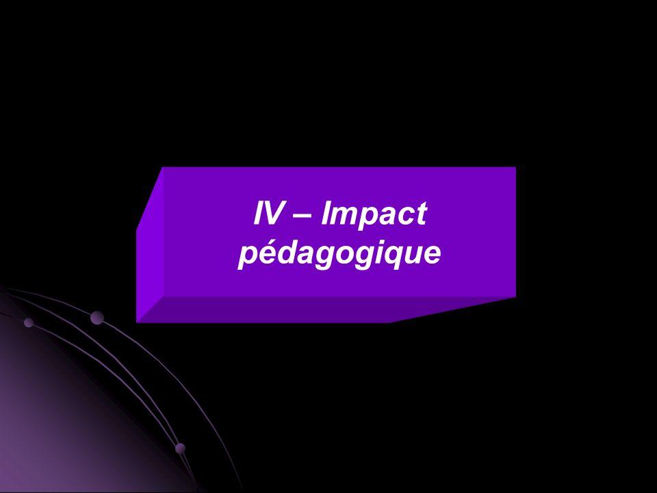 IV – Impact pédagogique