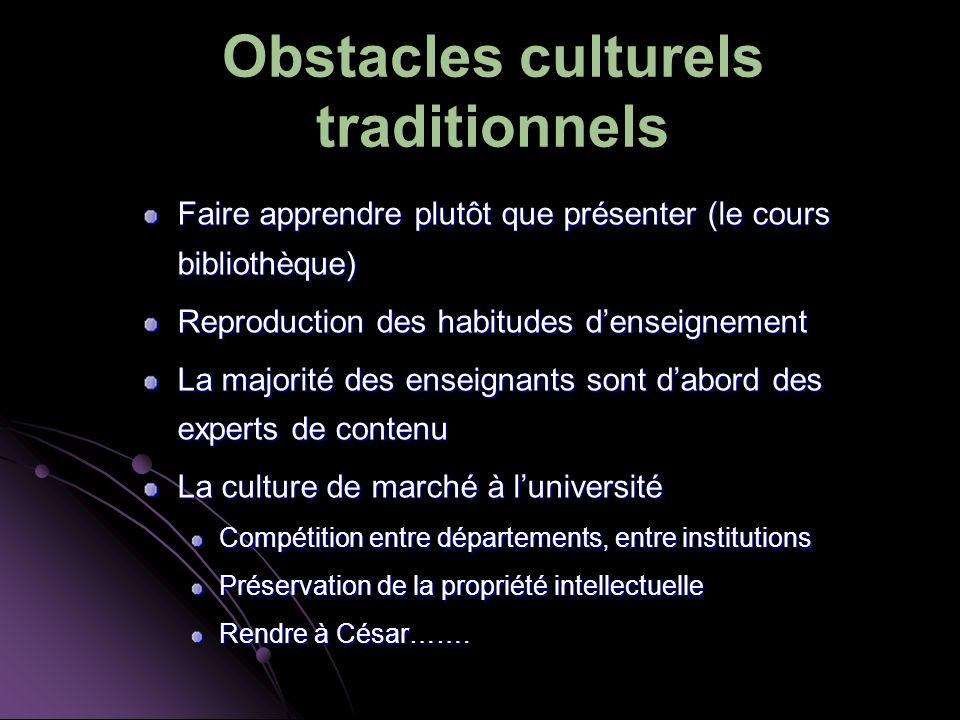 Obstacles culturels traditionnels Faire apprendre plutôt que présenter (le cours bibliothèque) Reproduction des habitudes denseignement La majorité de