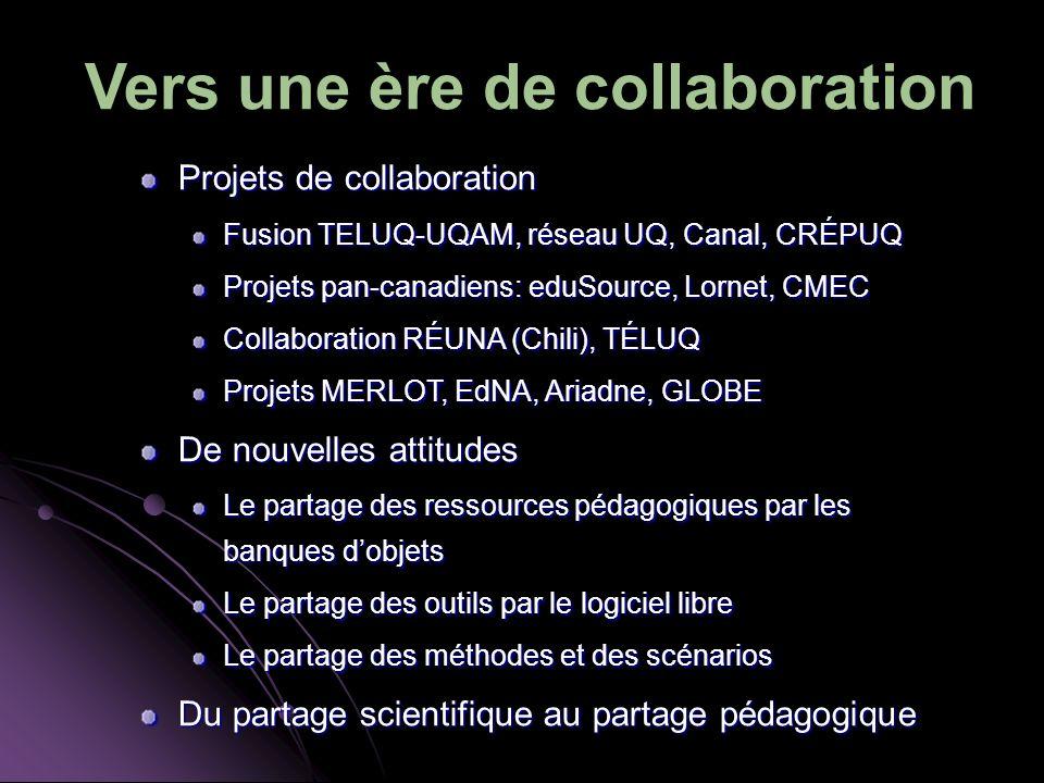 Vers une ère de collaboration Projets de collaboration Fusion TELUQ-UQAM, réseau UQ, Canal, CRÉPUQ Projets pan-canadiens: eduSource, Lornet, CMEC Collaboration RÉUNA (Chili), TÉLUQ Projets MERLOT, EdNA, Ariadne, GLOBE De nouvelles attitudes Le partage des ressources pédagogiques par les banques dobjets Le partage des outils par le logiciel libre Le partage des méthodes et des scénarios Du partage scientifique au partage pédagogique