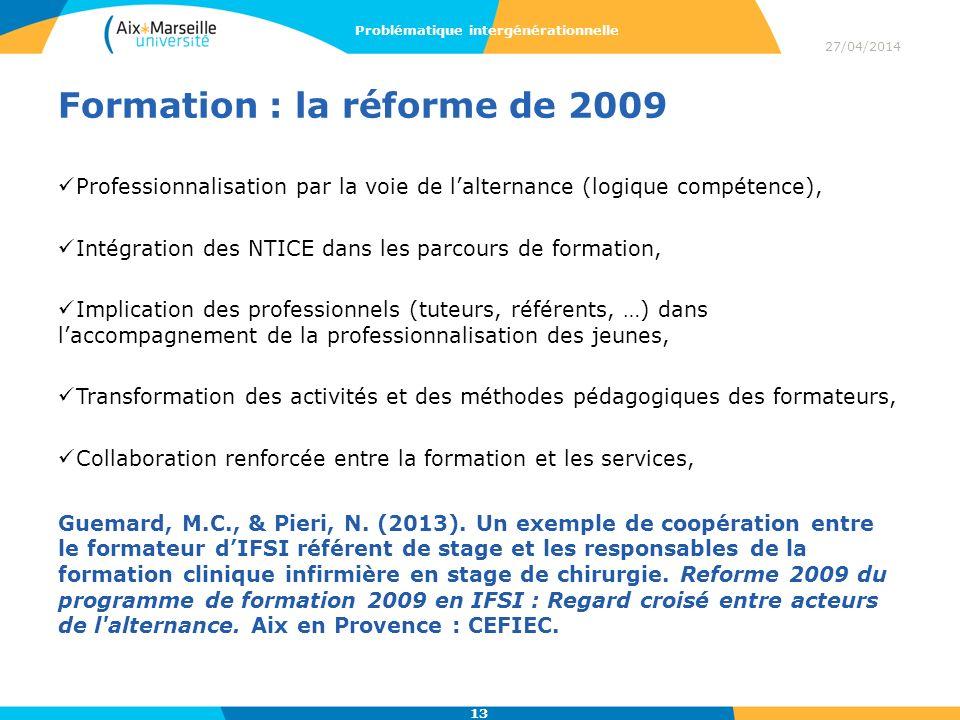 Formation : la réforme de 2009 Professionnalisation par la voie de lalternance (logique compétence), Intégration des NTICE dans les parcours de format
