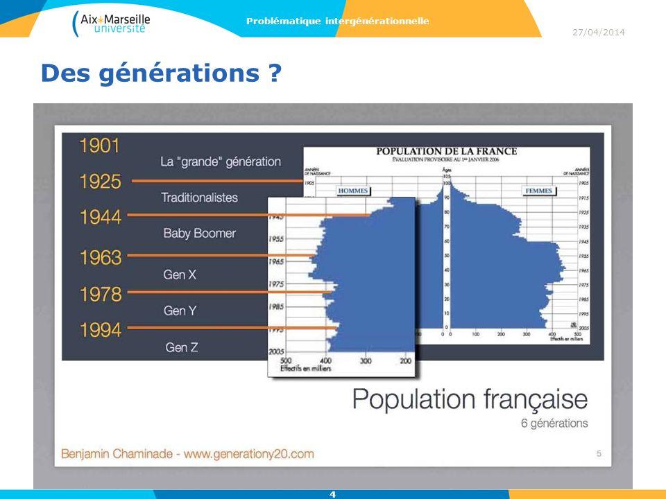 Des générations ? 27/04/2014 Problématique intergénérationnelle 4