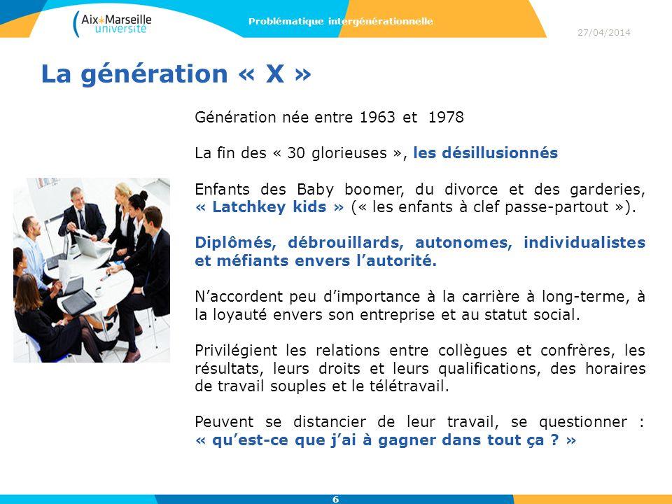 La génération « X » Génération née entre 1963 et 1978 La fin des « 30 glorieuses », les désillusionnés Enfants des Baby boomer, du divorce et des gard