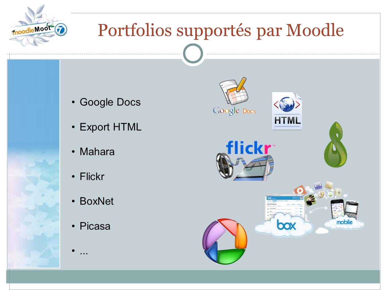 22.0 Portfolios supportés par Moodle Google Docs Export HTML Mahara Flickr BoxNet Picasa...