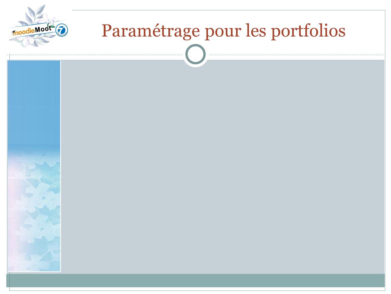 22.0 Paramétrage pour les portfolios