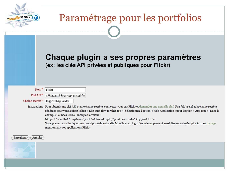 22.0 Paramétrage pour les portfolios Chaque plugin a ses propres paramètres (ex: les clés API privées et publiques pour Flickr)