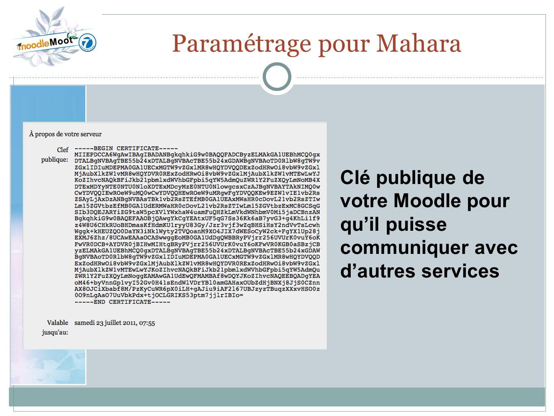 22.0 Paramétrage pour Mahara Clé publique de votre Moodle pour quil puisse communiquer avec dautres services