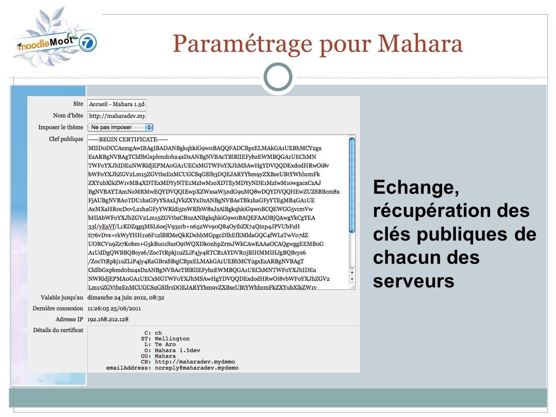 22.0 Paramétrage pour Mahara Echange, récupération des clés publiques de chacun des serveurs