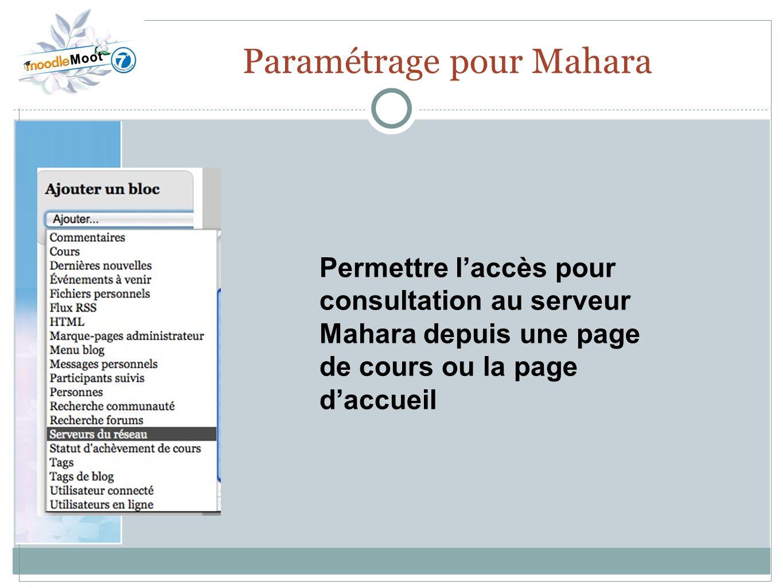 22.0 Paramétrage pour Mahara Permettre laccès pour consultation au serveur Mahara depuis une page de cours ou la page daccueil