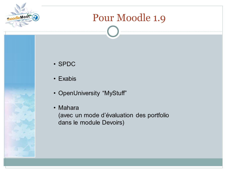 22.0 Pour Moodle 1.9 SPDC Exabis OpenUniversity MyStuff Mahara (avec un mode dévaluation des portfolio dans le module Devoirs)