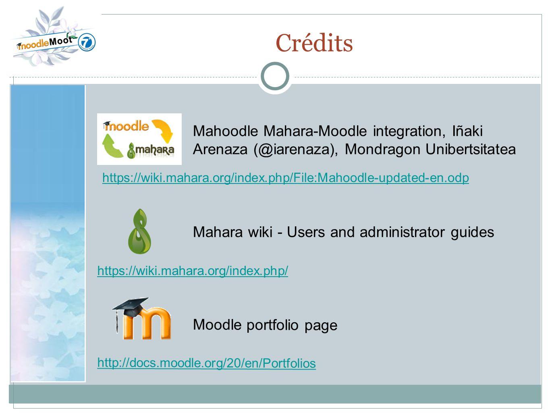 22.0 Crédits https://wiki.mahara.org/index.php/File:Mahoodle-updated-en.odp Mahoodle Mahara-Moodle integration, Iñaki Arenaza (@iarenaza), Mondragon U