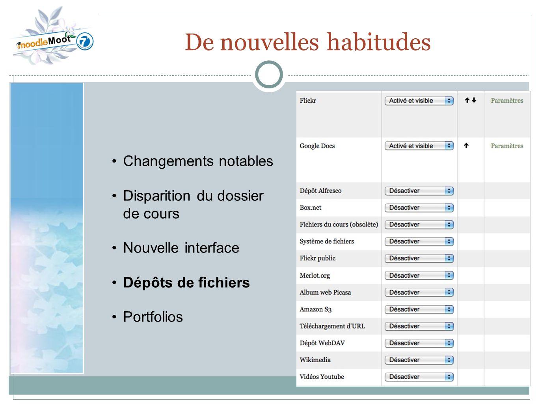 22.0 De nouvelles habitudes Changements notables Disparition du dossier de cours Nouvelle interface Dépôts de fichiers Portfolios