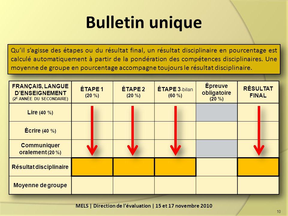 Bulletin unique 10 Quil sagisse des étapes ou du résultat final, un résultat disciplinaire en pourcentage est calculé automatiquement à partir de la pondération des compétences disciplinaires.