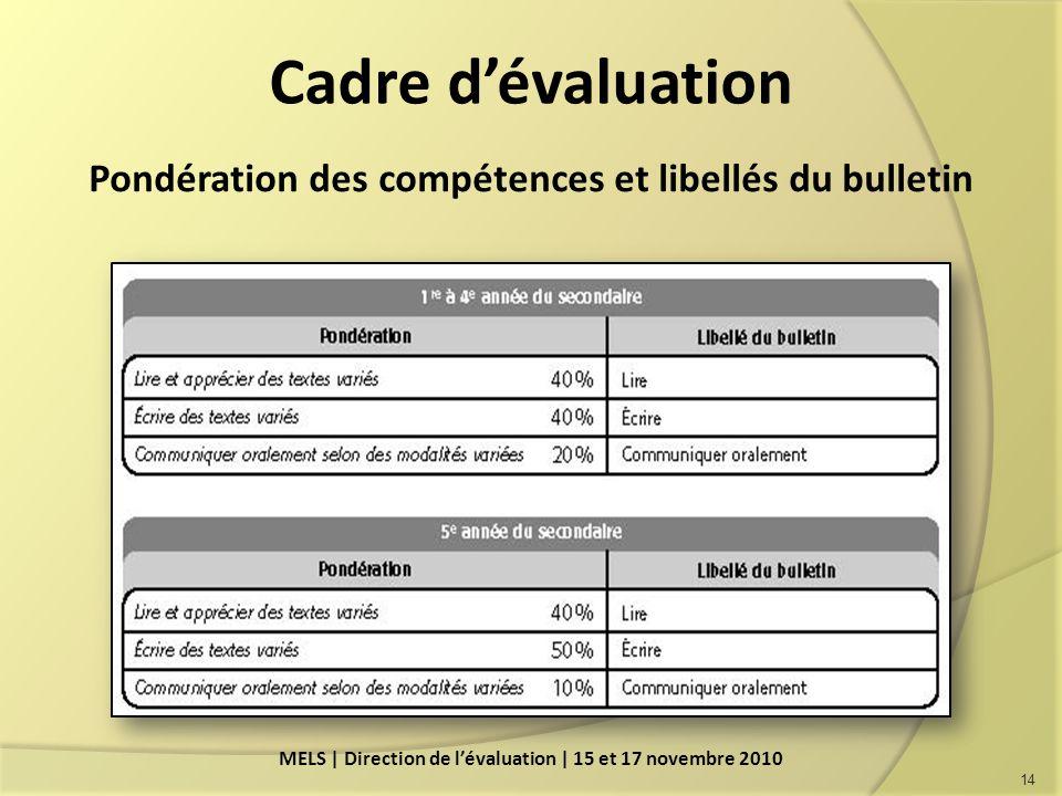 Cadre dévaluation Pondération des compétences et libellés du bulletin 14 MELS | Direction de lévaluation | 15 et 17 novembre 2010