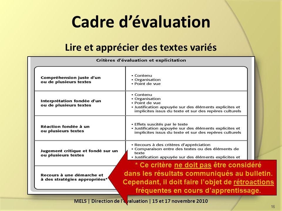 Cadre dévaluation Lire et apprécier des textes variés 16 MELS | Direction de lévaluation | 15 et 17 novembre 2010 * Ce critère ne doit pas être considéré dans les résultats communiqués au bulletin.