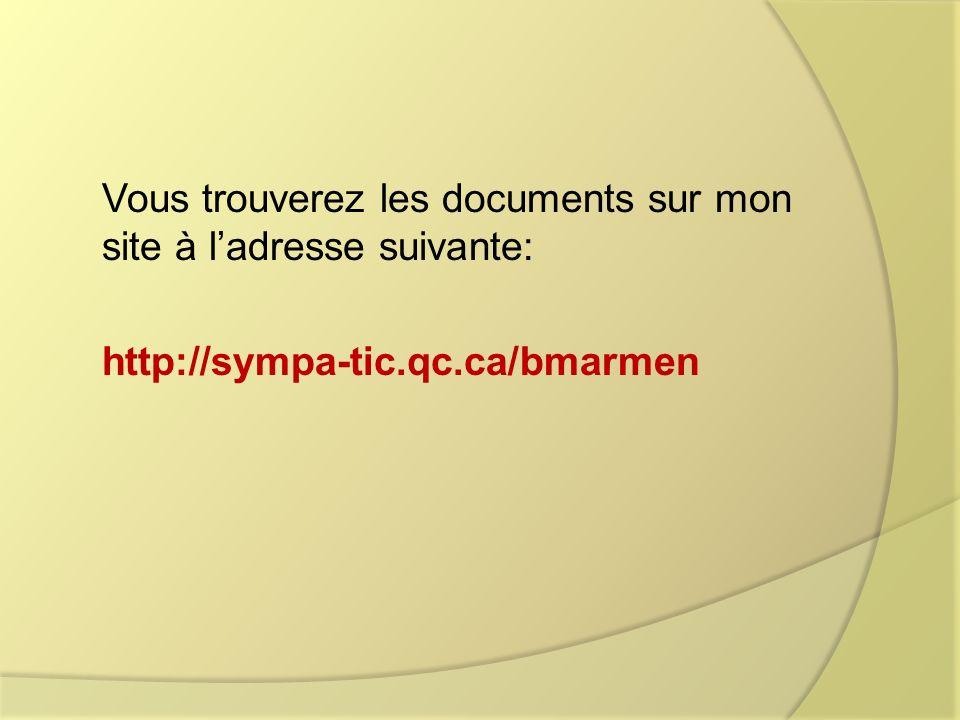 Vous trouverez les documents sur mon site à ladresse suivante: http://sympa-tic.qc.ca/bmarmen