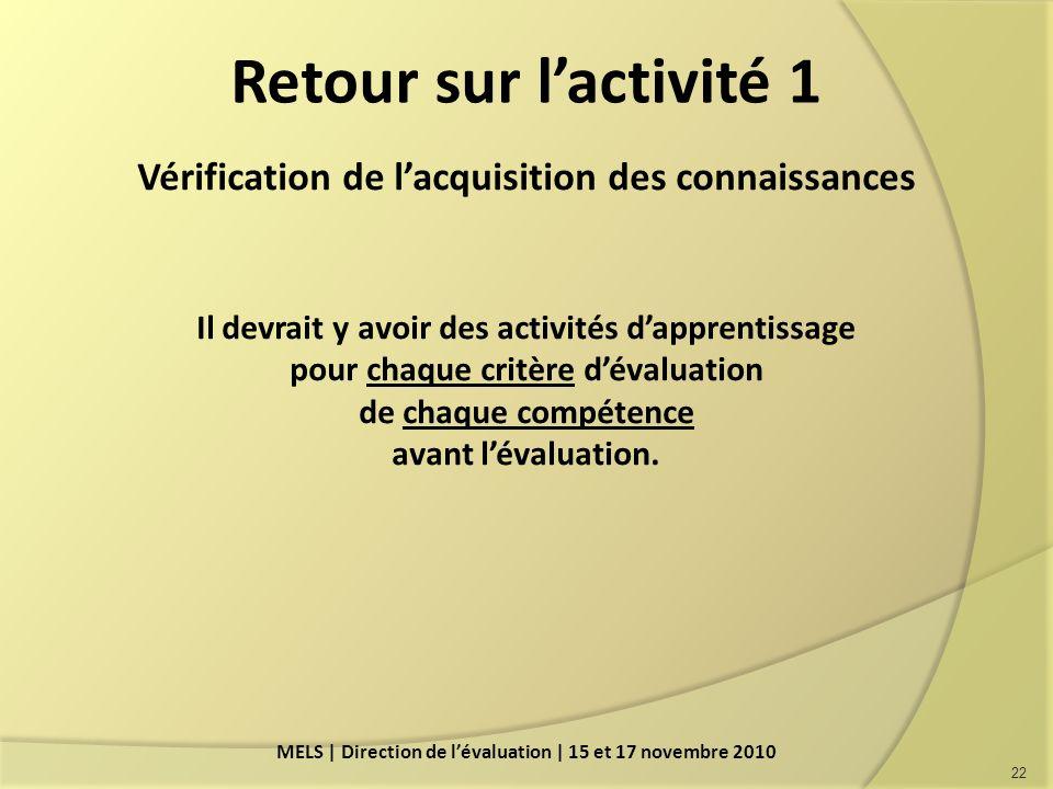 Retour sur lactivité 1 Vérification de lacquisition des connaissances Il devrait y avoir des activités dapprentissage pour chaque critère dévaluation de chaque compétence avant lévaluation.