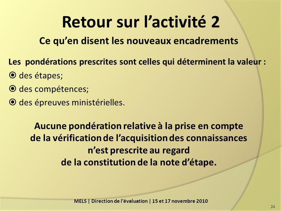 Retour sur lactivité 2 Ce quen disent les nouveaux encadrements Les pondérations prescrites sont celles qui déterminent la valeur : des étapes; des compétences; des épreuves ministérielles.