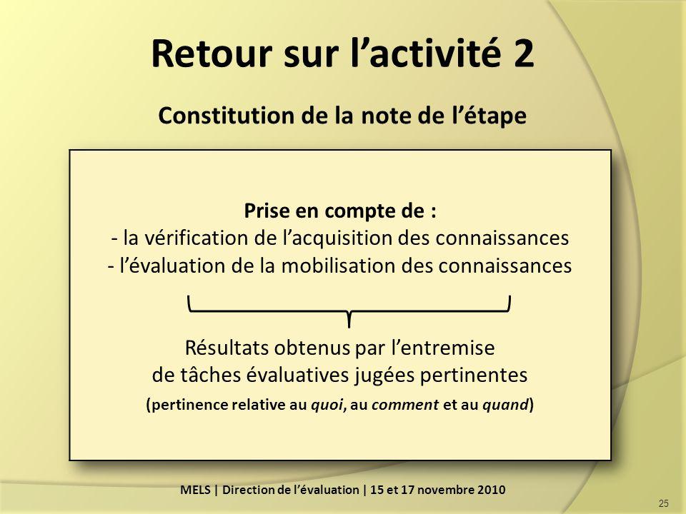 Retour sur lactivité 2 Constitution de la note de létape 25 MELS | Direction de lévaluation | 15 et 17 novembre 2010