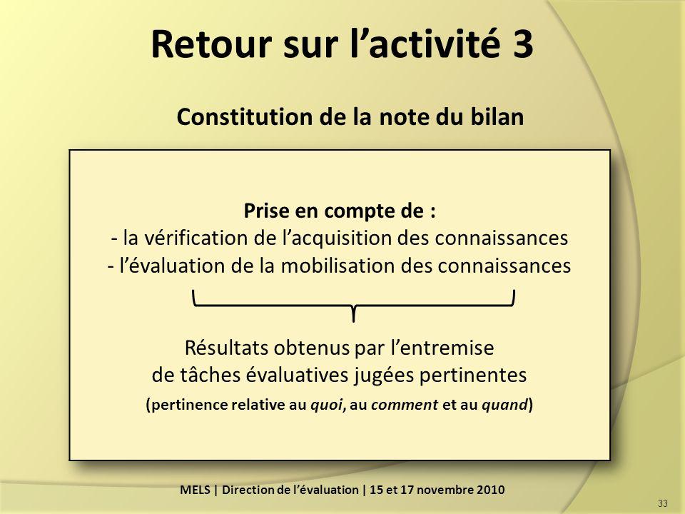 Retour sur lactivité 3 Constitution de la note du bilan 33 MELS | Direction de lévaluation | 15 et 17 novembre 2010