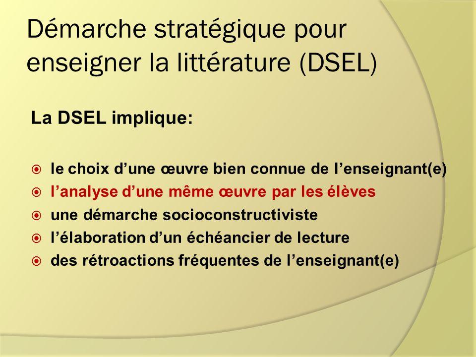 Démarche stratégique pour enseigner la littérature (DSEL) La DSEL implique: le choix dune œuvre bien connue de lenseignant(e) lanalyse dune même œuvre par les élèves une démarche socioconstructiviste lélaboration dun échéancier de lecture des rétroactions fréquentes de lenseignant(e)