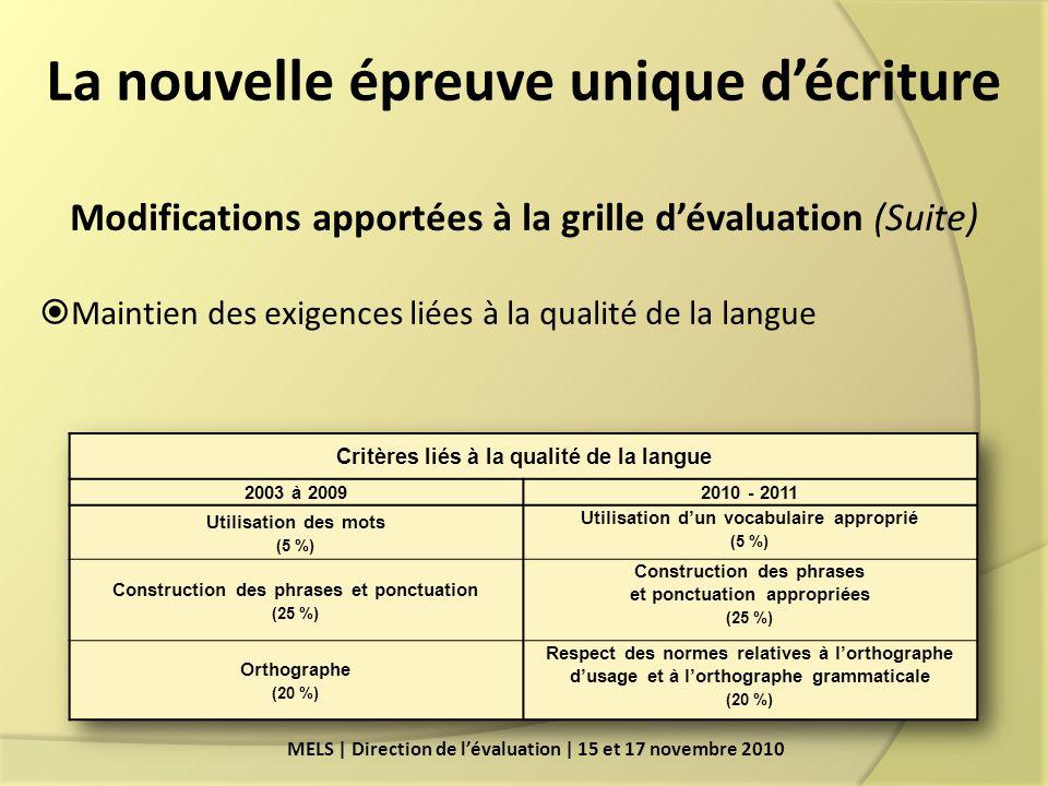 La nouvelle épreuve unique décriture MELS | Direction de lévaluation | 15 et 17 novembre 2010 Modifications apportées à la grille dévaluation (Suite) Maintien des exigences liées à la qualité de la langue