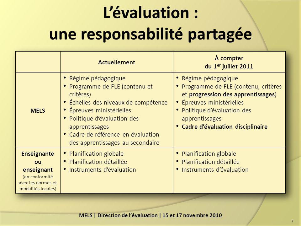 Lévaluation : une responsabilité partagée 7 MELS | Direction de lévaluation | 15 et 17 novembre 2010